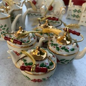 Lot of Lenox Holiday Holly Christmas Ornaments